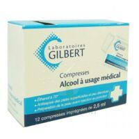 ALCOOL A USAGE MEDICAL GILBERT 2,5 ml Compr imprégnée 12Sach à CUISERY
