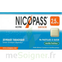 Nicopass 2,5 mg Pastille menthe fraîcheur sans sucre Plq/36 à CUISERY